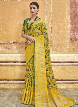 Green and Yellow Beads Work Designer Contemporary Style Saree