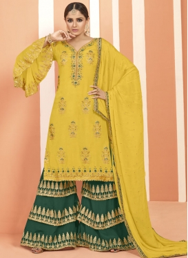 Green and Yellow Beads Work Faux Georgette Palazzo Straight Salwar Suit