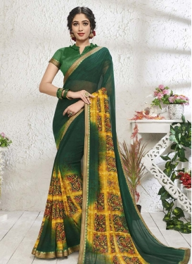 Green and Yellow Digital Print Work Designer Contemporary Style Saree