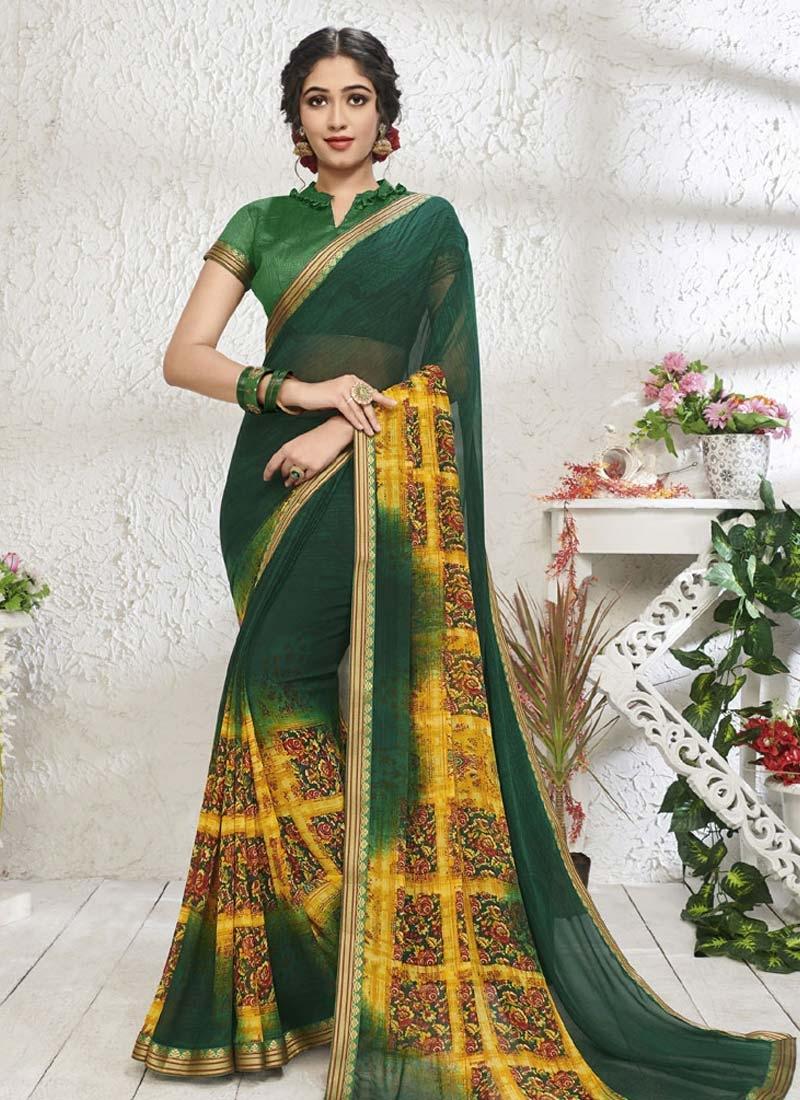 Green and Yellow Digital Print Work Designer Contemporary Style Saree