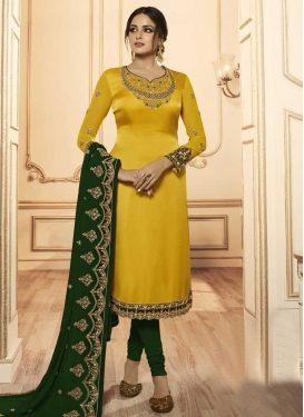 Green and Yellow Embroidered Work Trendy Churidar Salwar Suit