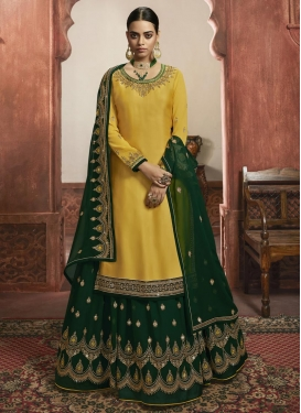 Green and Yellow Faux Georgette Kameez Style Lehenga Choli