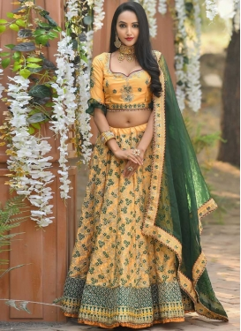 Green and Yellow Lehenga Choli For Bridal