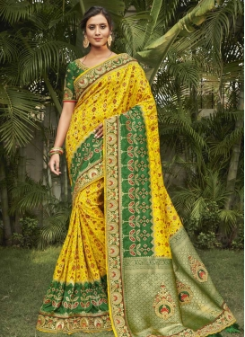 Green and Yellow Traditional Designer Saree