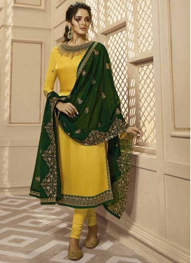 Green and Yellow Trendy Pakistani Salwar Suit