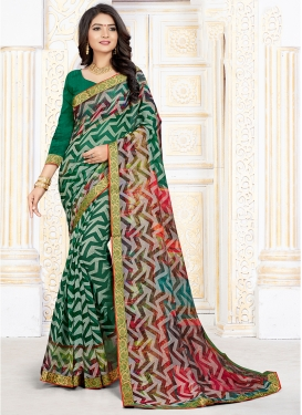 Green Art Silk Printed Saree