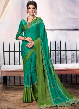 Green Brasso Party Classic Designer Saree