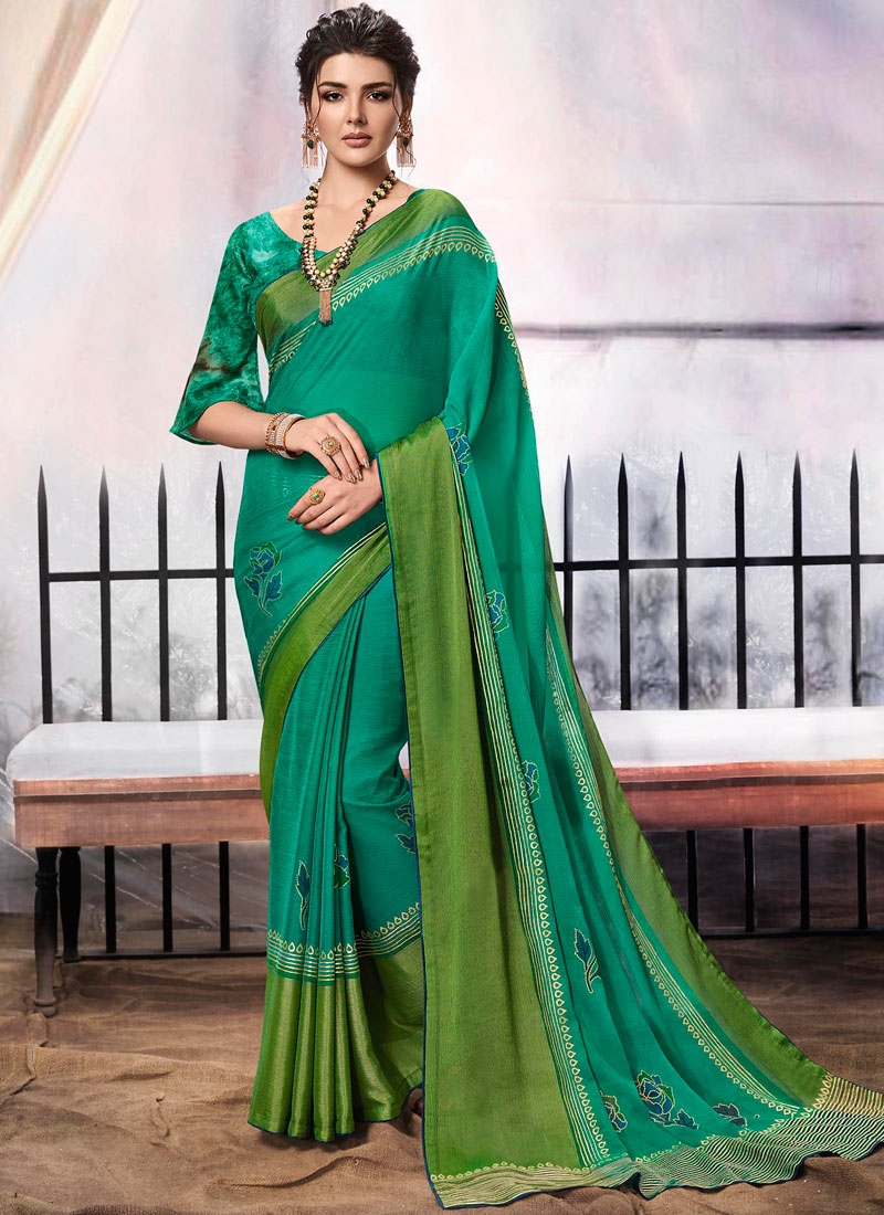 Green Brasso Party Classic Designer Saree