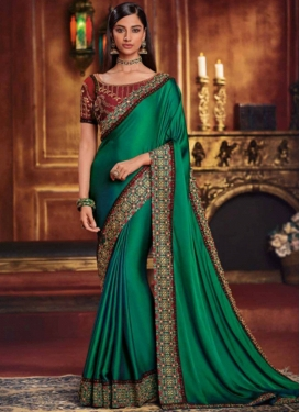 Green Embroidered Ceremonial Traditional Designer Saree