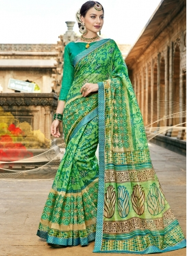 Green Print Printed Saree