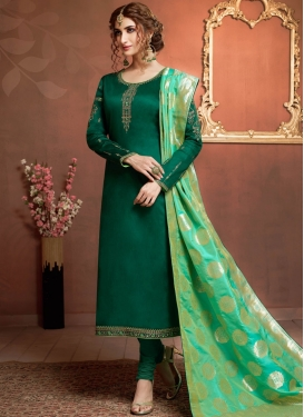 Green Satin Georgette Stone Work Churidar Salwar Suit