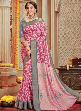 Grey and Hot Pink Art Silk Classic Saree