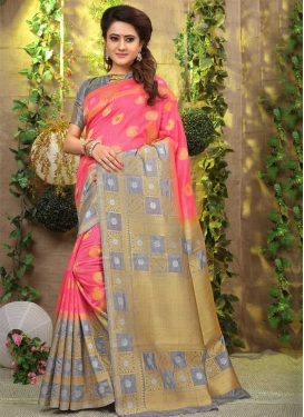 Grey and Hot Pink Classic Saree