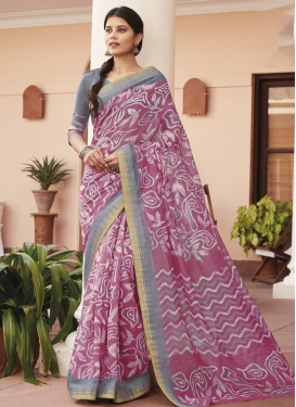 Grey and Hot Pink Cotton Silk Designer Contemporary Saree