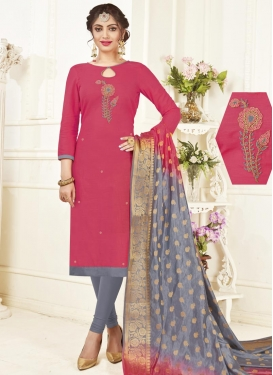 Grey and Hot Pink Cotton Trendy Churidar Salwar Kameez For Casual