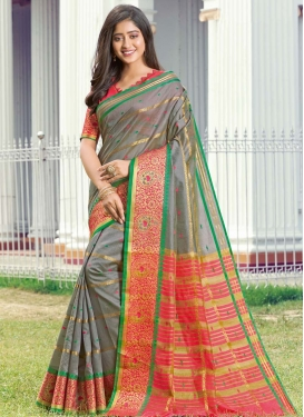 Grey and Hot Pink Handloom Silk Designer Contemporary Saree
