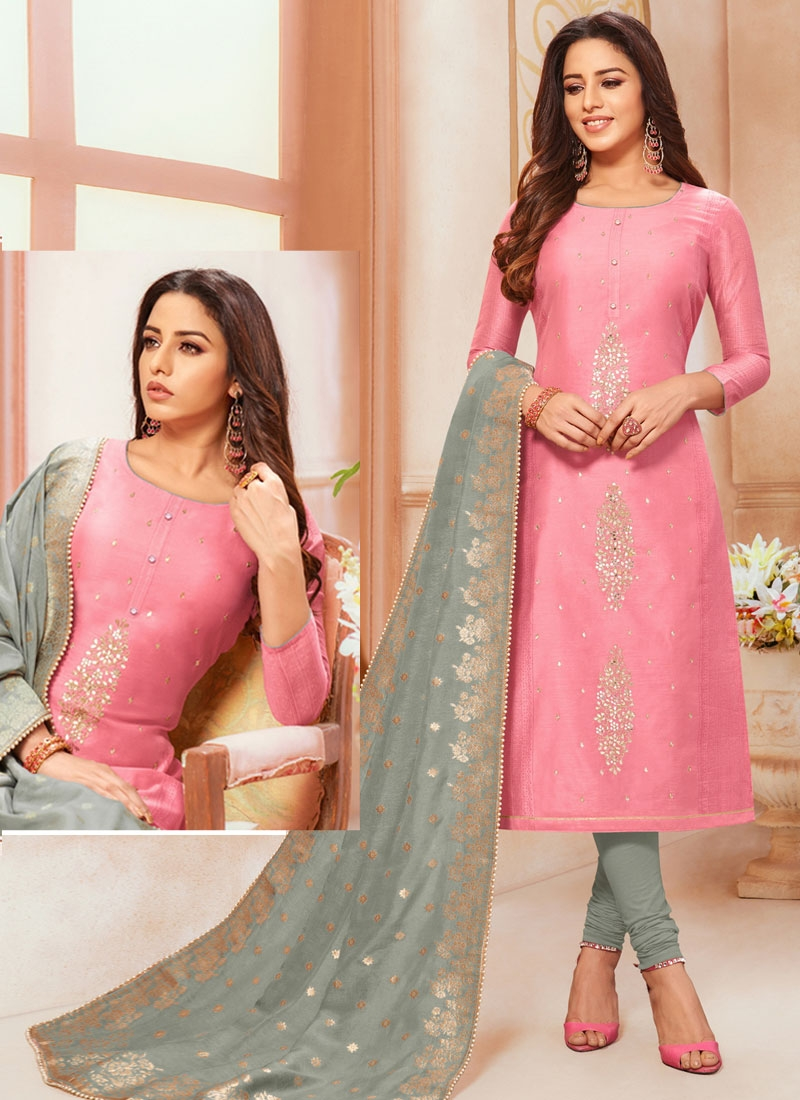 Grey and Hot Pink Mirror Work Cotton Silk Trendy Churidar Salwar Suit