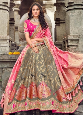 Grey and Hot Pink Trendy Lehenga Choli For Festival