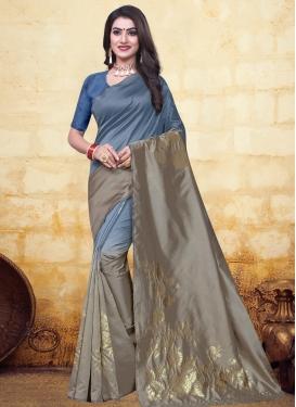 Grey and Light Blue Banarasi Silk Trendy Classic Saree