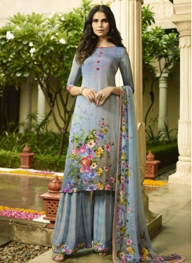Grey and Light Blue Crepe Silk Palazzo Style Pakistani Salwar Suit For Festival