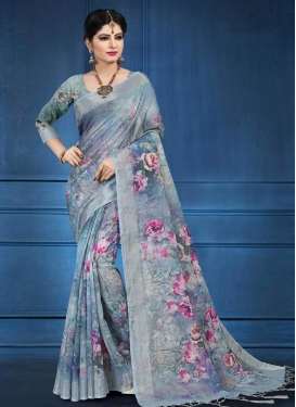 Grey and Light Blue Trendy Classic Saree