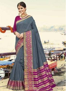 Grey and Magenta Art Silk Classic Saree