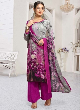 Grey and Magenta Palazzo Style Pakistani Salwar Kameez For Casual