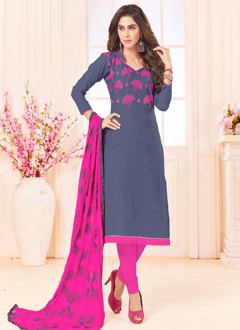 Grey and Magenta Trendy Churidar Suit For Casual