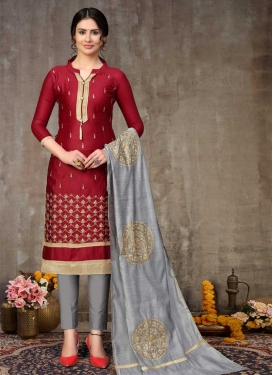 Grey and Maroon Cotton Pant Style Classic Suit