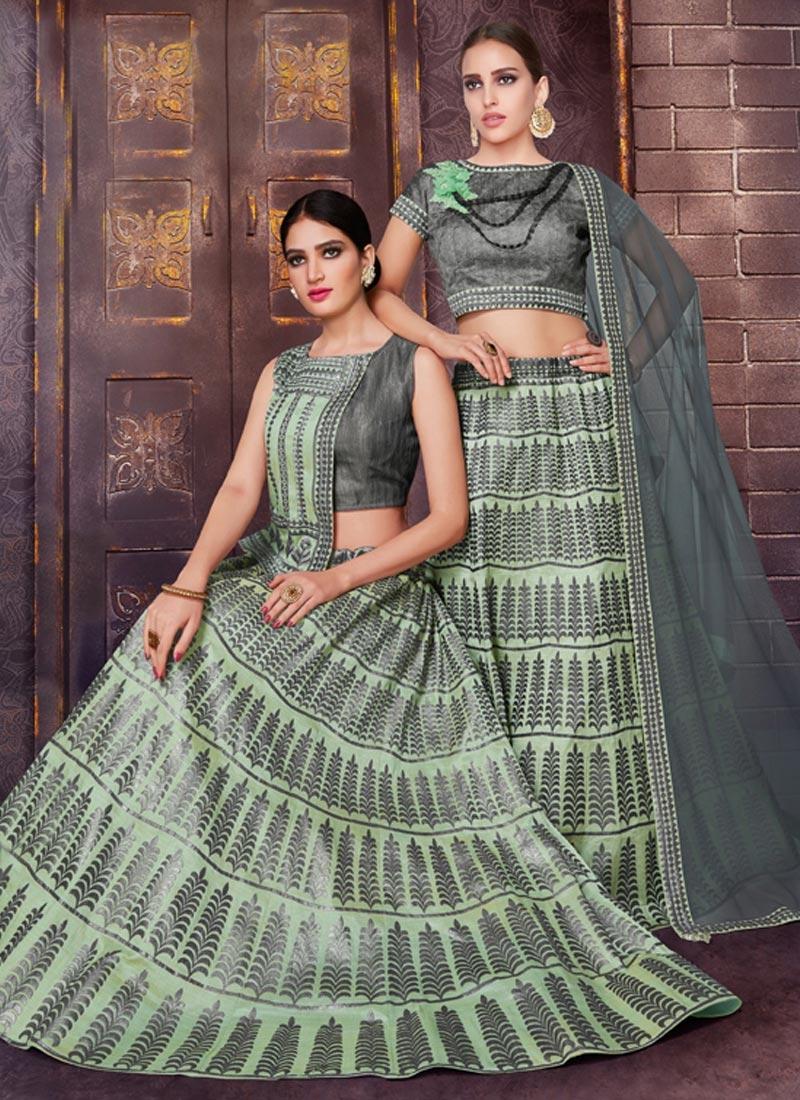Grey and Mint Green Designer Classic Lehenga Choli