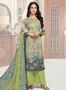 Grey and Mint Green Palazzo Style Pakistani Salwar Kameez