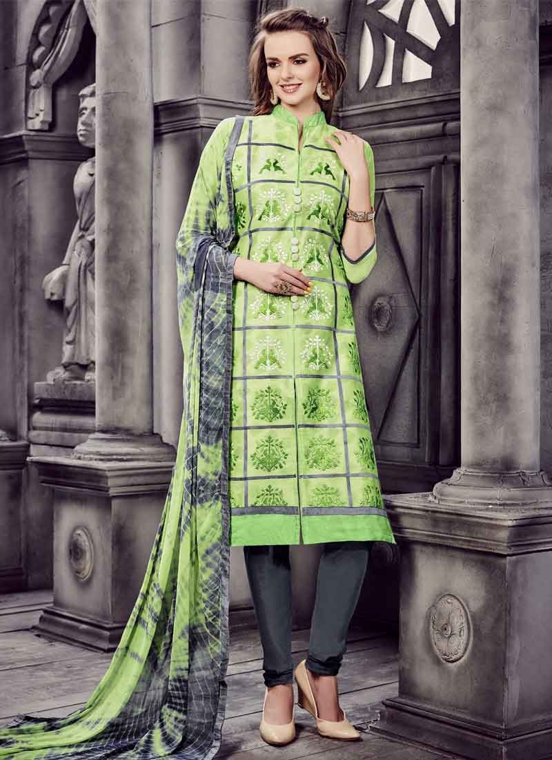 Grey and Mint Green Trendy Churidar Salwar Kameez
