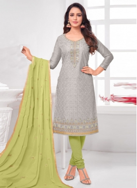 Grey and Mint Green Trendy Churidar Salwar Suit For Casual
