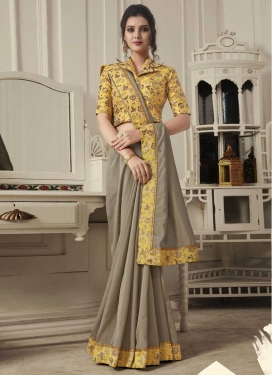 Grey and Mustard Digital Print Work Designer Traditional Saree