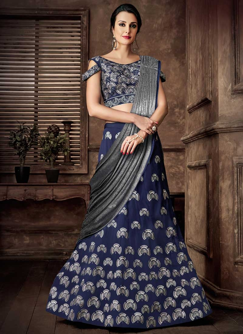 Grey and Navy Blue Aari Work Lycra Designer Lehenga Saree