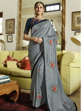 Grey and Navy Blue Art Silk Classic Saree