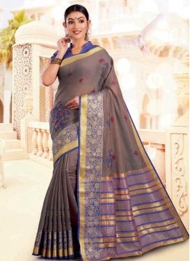 Grey and Navy Blue Cotton Silk Designer Contemporary Style Saree