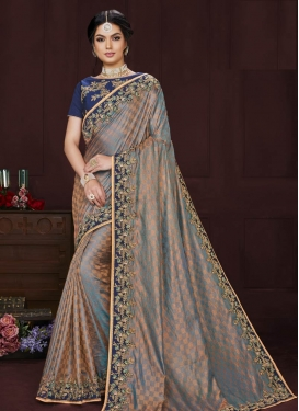 Grey and Navy Blue Designer Contemporary Style Saree For Ceremonial