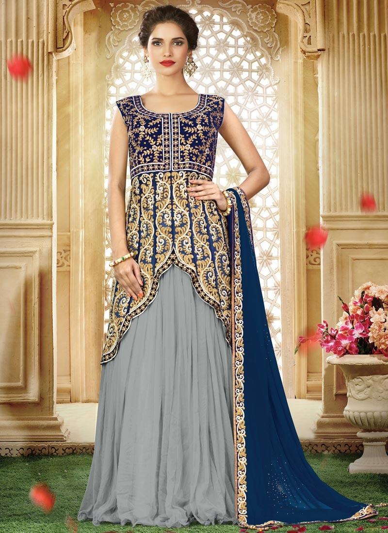 Grey and Navy Blue Designer Long Choli Lehenga