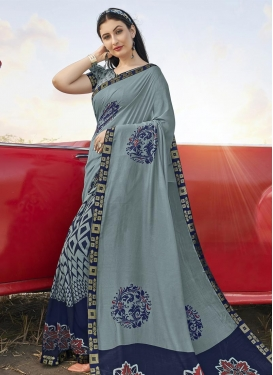 Grey and Navy Blue Digital Print Work Bhagalpuri Silk Traditional Designer Saree