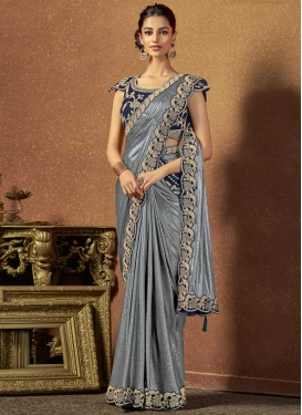 Grey and Navy Blue Embroidered Work Contemporary Style Saree