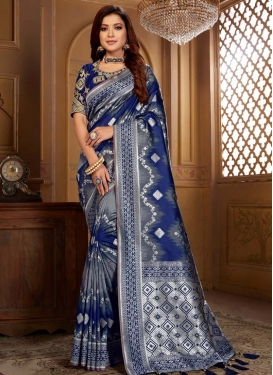 Grey and Navy Blue Embroidered Work Designer Contemporary Saree