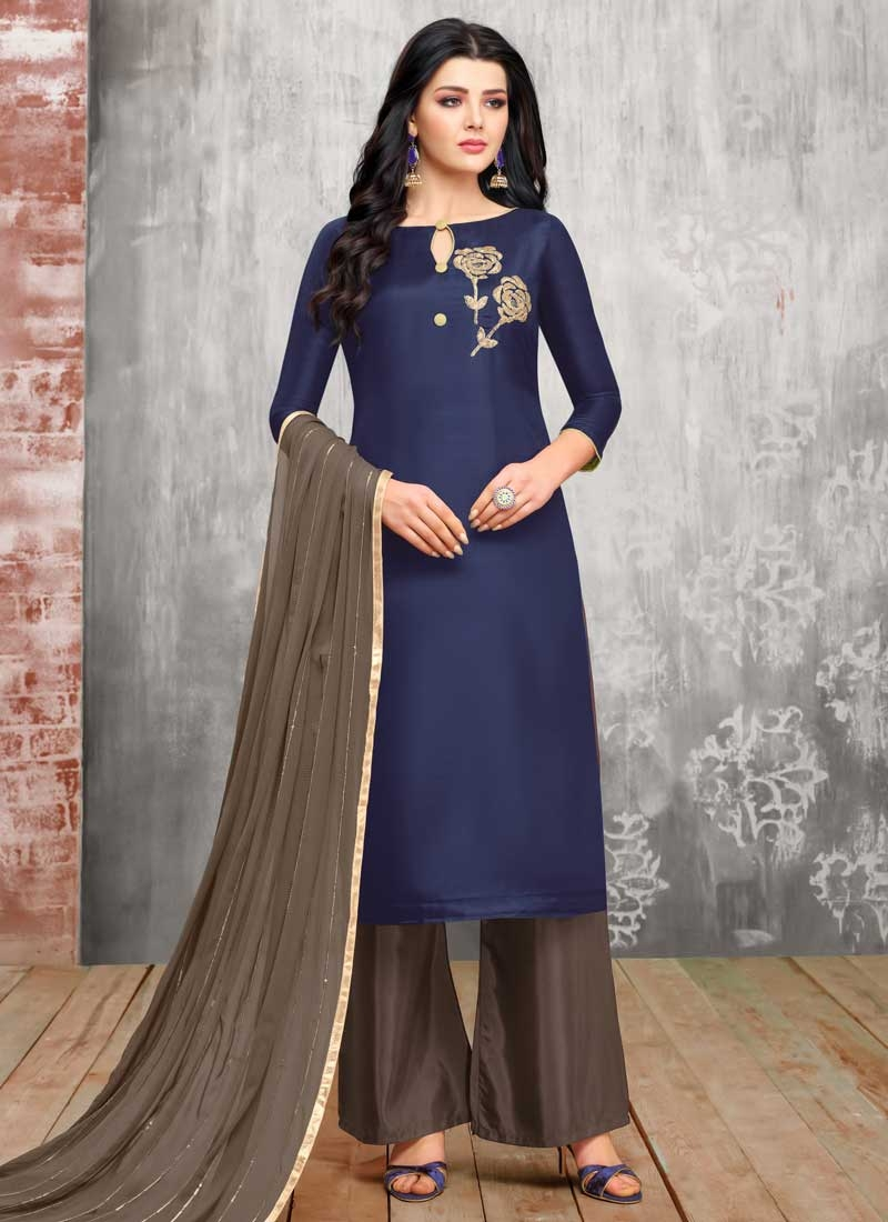 Grey and Navy Blue Embroidered Work Palazzo Straight Salwar Kameez