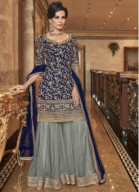 Grey and Navy Blue Embroidered Work Sharara Salwar Kameez