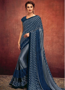 Grey and Navy Blue Embroidered Work Traditional Designer Saree