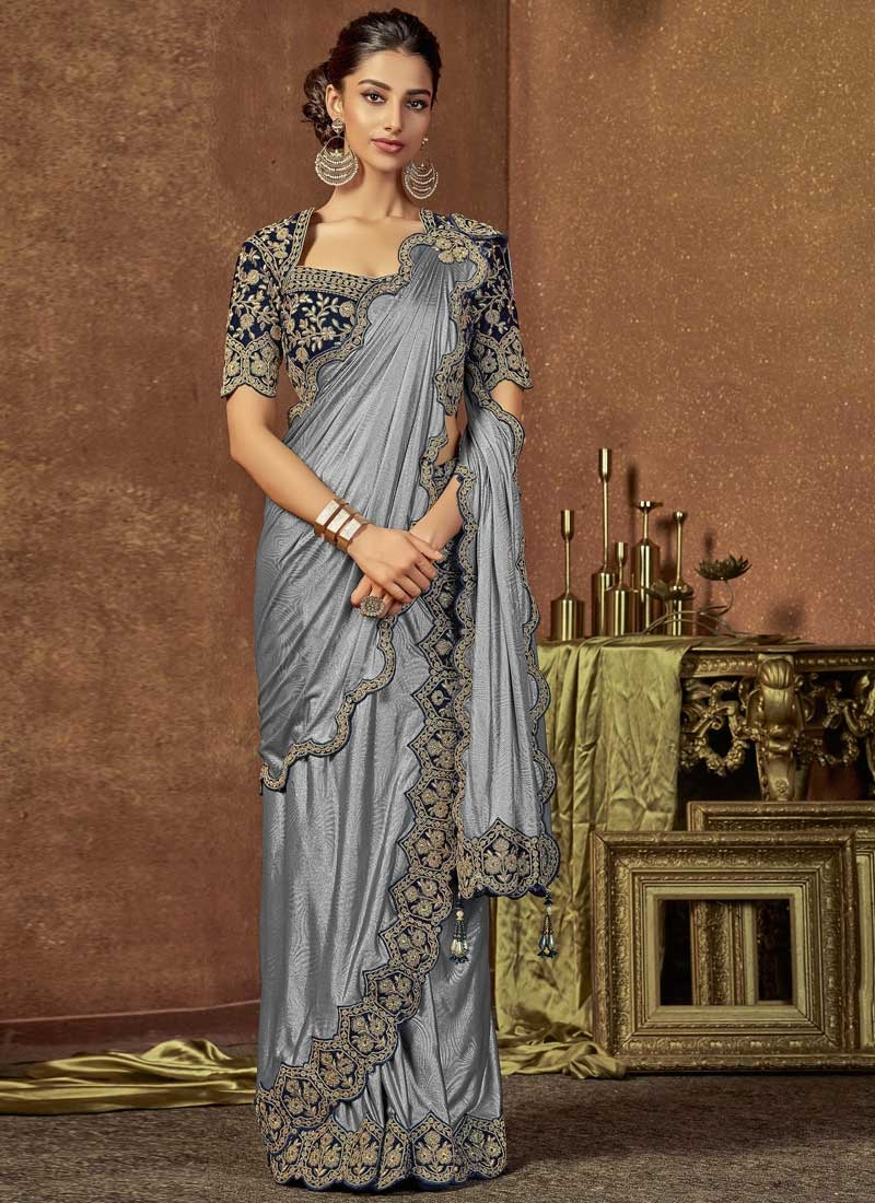 Grey and Navy Blue Embroidered Work Trendy Designer Saree
