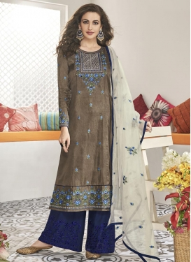 Grey and Navy Blue Maslin Readymade Designer Suit For Festival