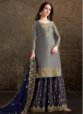 Grey and Navy Blue Palazzo Designer Salwar Kameez For Ceremonial