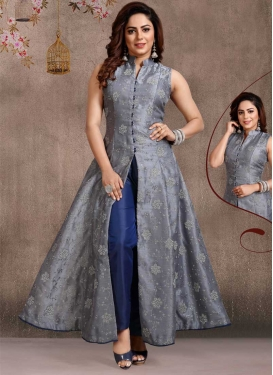 Grey and Navy Blue Readymade Designer Suit For Festival