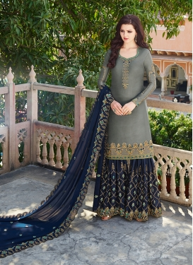 Grey and Navy Blue Satin Georgette Sharara Salwar Kameez